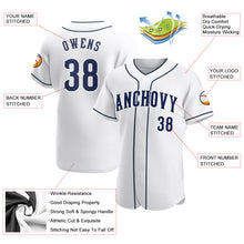 Load image into Gallery viewer, Custom White Navy-White Authentic Baseball Jersey