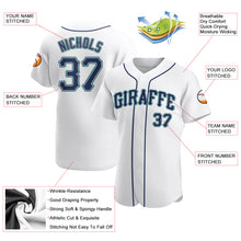 Load image into Gallery viewer, Custom White Navy-Aqua Authentic Baseball Jersey