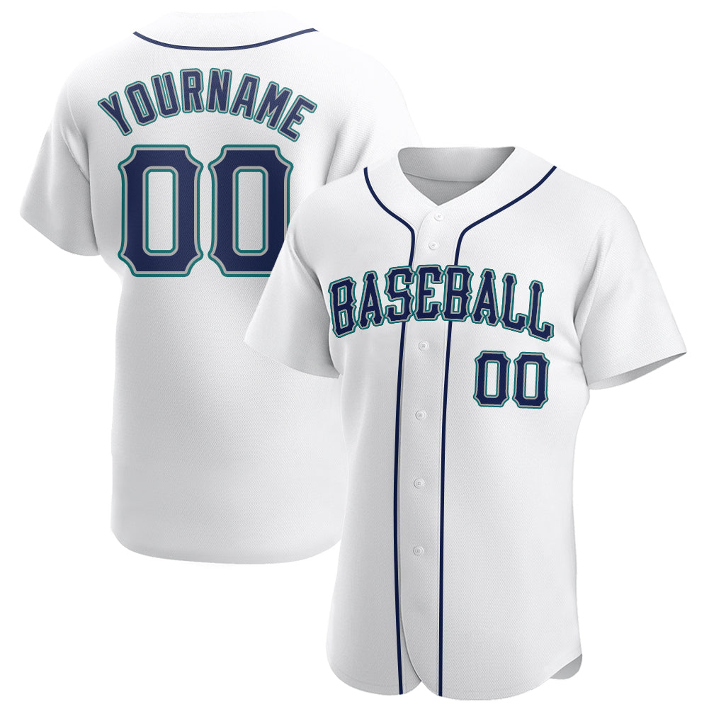 Custom White Navy-Aqua Authentic Baseball Jersey