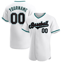 Load image into Gallery viewer, Custom White Black-Aqua Authentic Baseball Jersey