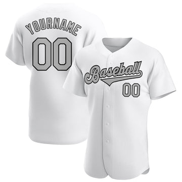Custom White Gray-Black Authentic Baseball Jersey