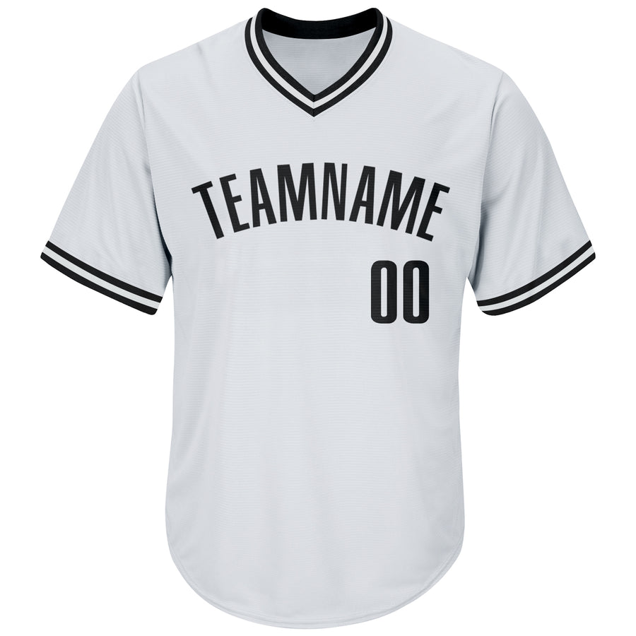 Custom White Black Authentic Throwback Rib-Knit Baseball Jersey Shirt