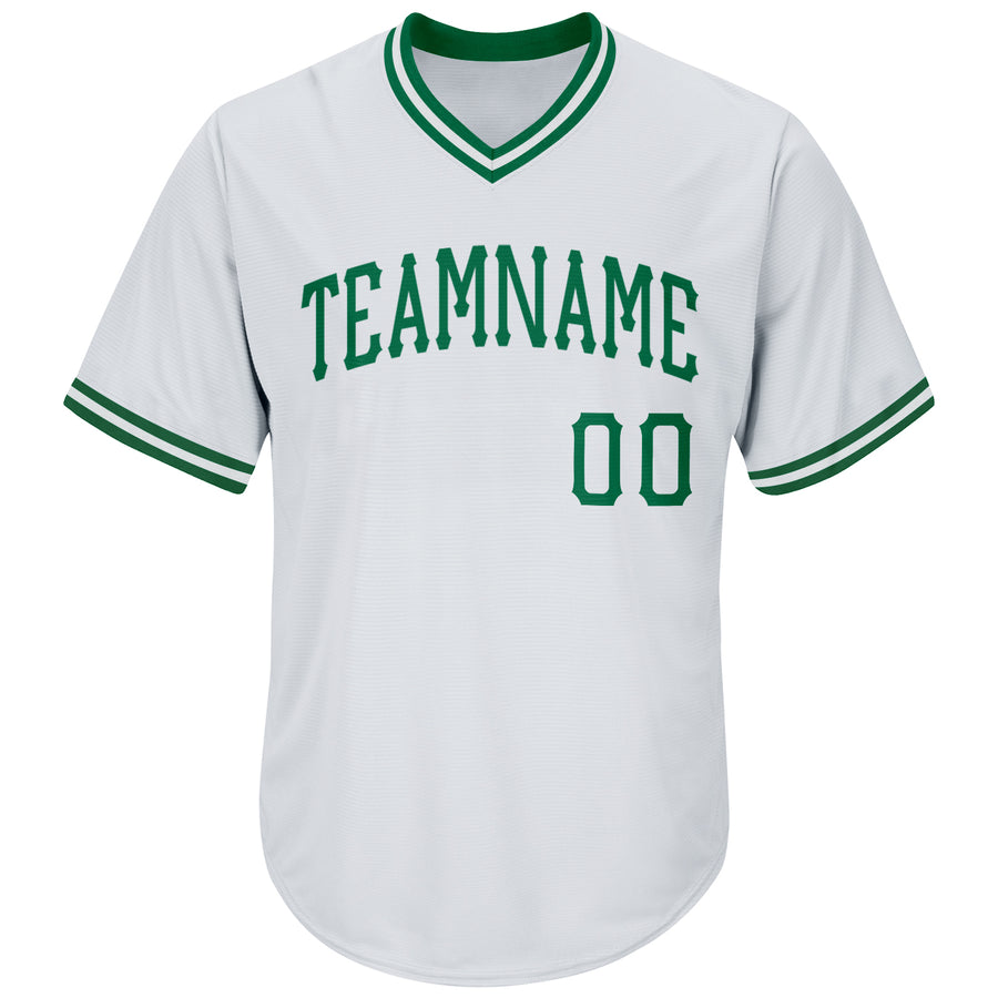 Custom White Kelly Green Authentic Throwback Rib-Knit Baseball Jersey Shirt