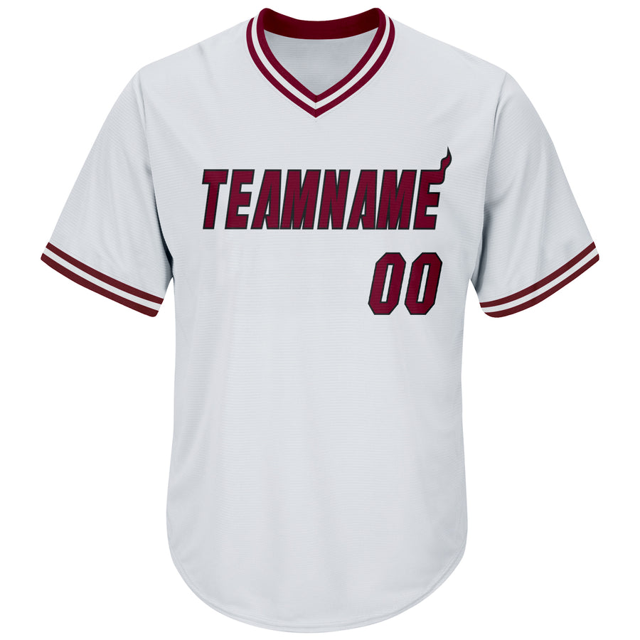 Custom White Maroon-Black Authentic Throwback Rib-Knit Baseball Jersey Shirt