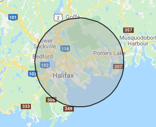 Halifax area gift delivery map