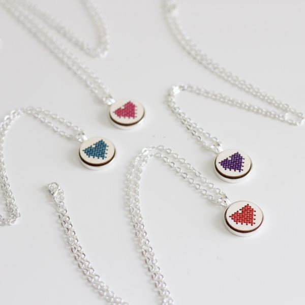 Cross stitch necklace kit - small heart