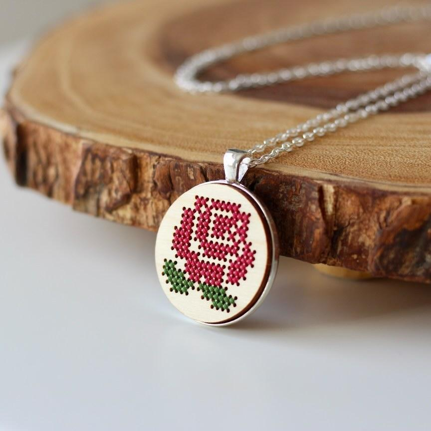 Cross stitch necklace kit - rose