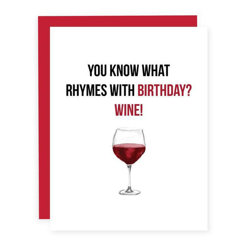 Pretty by her birthday wine card