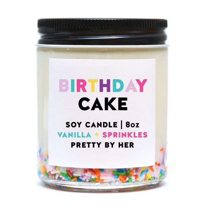 Pretty by her birthday cake soy candle