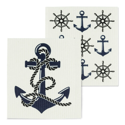 Swedish dishcloths set of 2 - Anchors