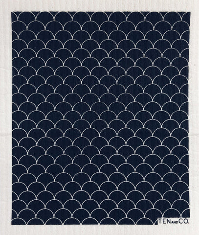 Swedish dishcloth - Scallop Black