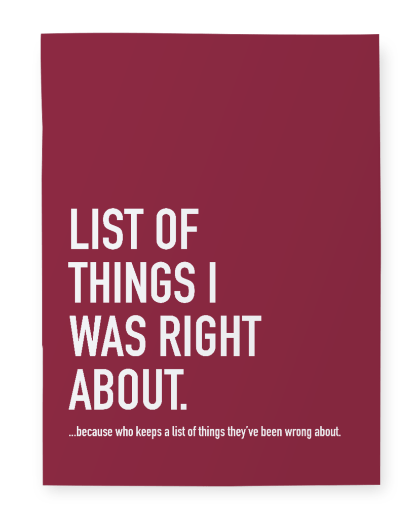 Notebook - Things I was right about - Cheerfetti Gift Co.