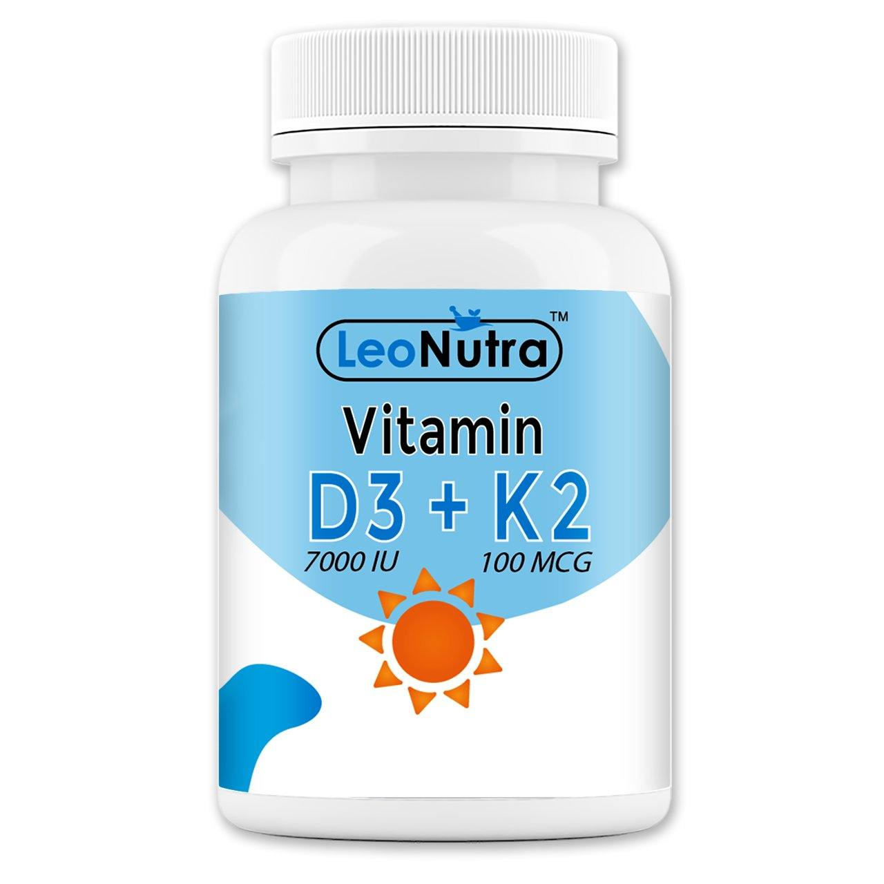 LeoNutra Vitamin D3 - 7000 IU with Vitamin K2 -100 mcg – 120 Tablets