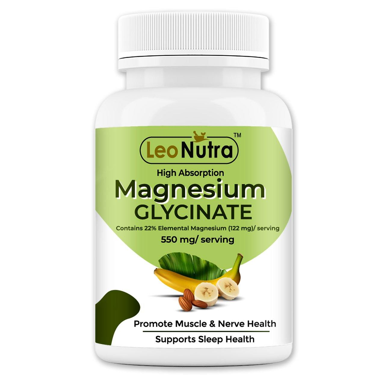 LeoNutra High Absorption Magnesium Glycinate, 550 mg - 120 Tablets