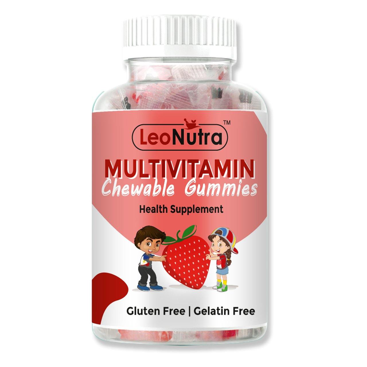 LeoNutra Multivitamin Chewable Gummies for Kids with 16 Vitamins and Minerals for Growth and Development - 30 Gummies