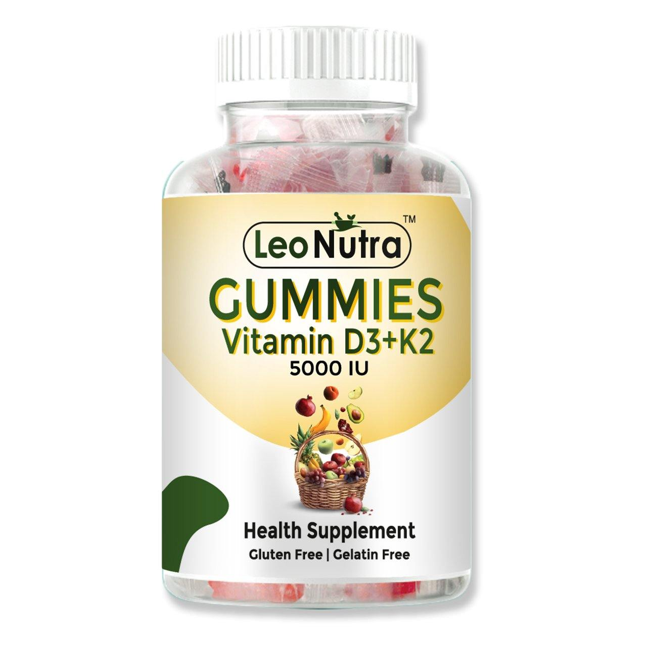 LeoNutra Vitamin D3 K2 Gummies (5000 IU) | For Immunity & Bone Health - 30 Gummies