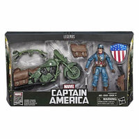 "MARVEL LEGENDS 6"" CAPTAIN AMERICA WITH MOTORCYCLE,SHIELD & HELMET ACTION FIGURE"