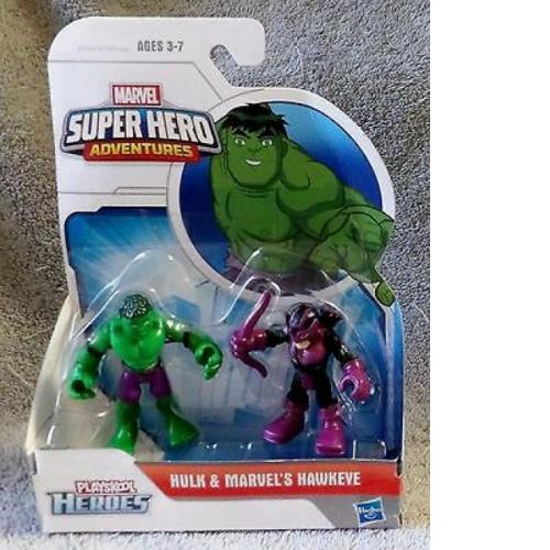 PLAYSKOOL 2014 HEROES MARVEL SUPER HEROES ADVENTURES HULK & MARVEL'S HAWKEYE