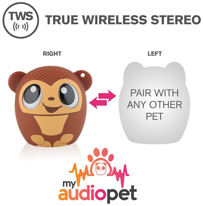 My Audio Pet - Mini Bluetooth Animal Wireless Speaker for Kids of All Ages - Monkey Gogobananas