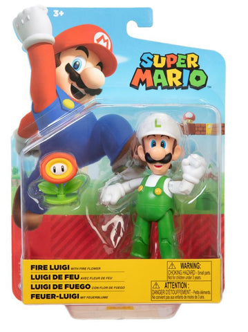 "World of Nintendo Super Mario 4"" Figure - Fire Luigi with Fire Flower"