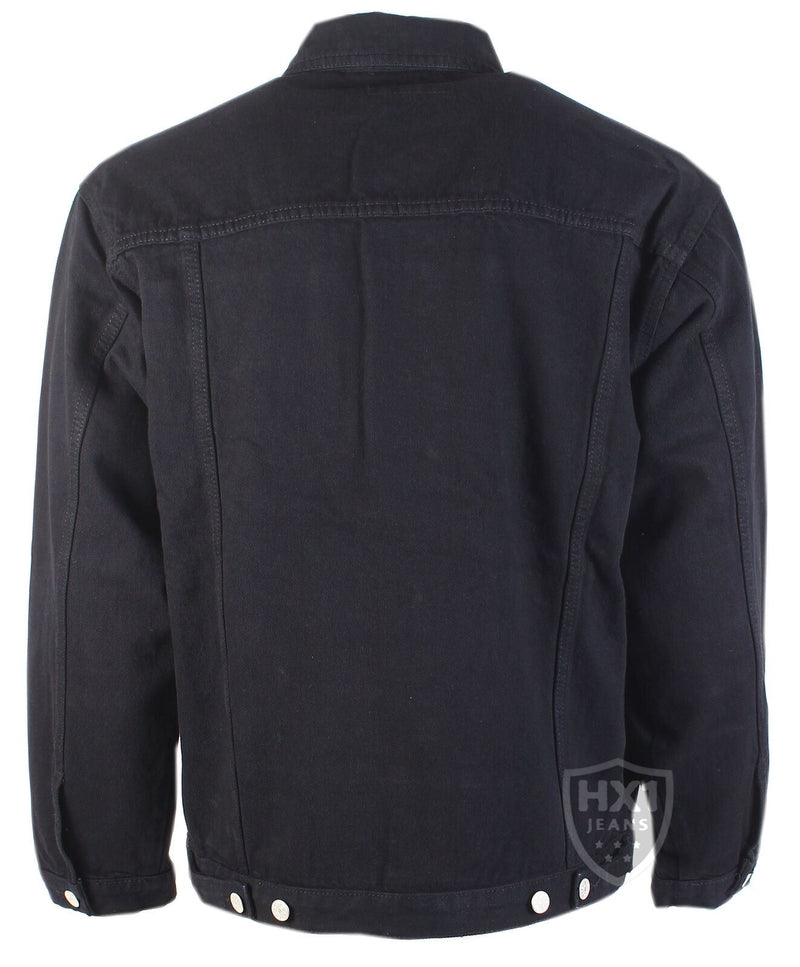 Mens Loose Fit Denim Trucker Style Jacket In Black S-5Xl