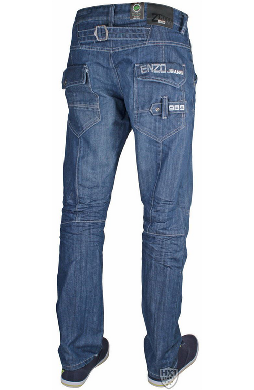Mens New Straight Leg Jeans Cargo Back Pockets Blue Ez243
