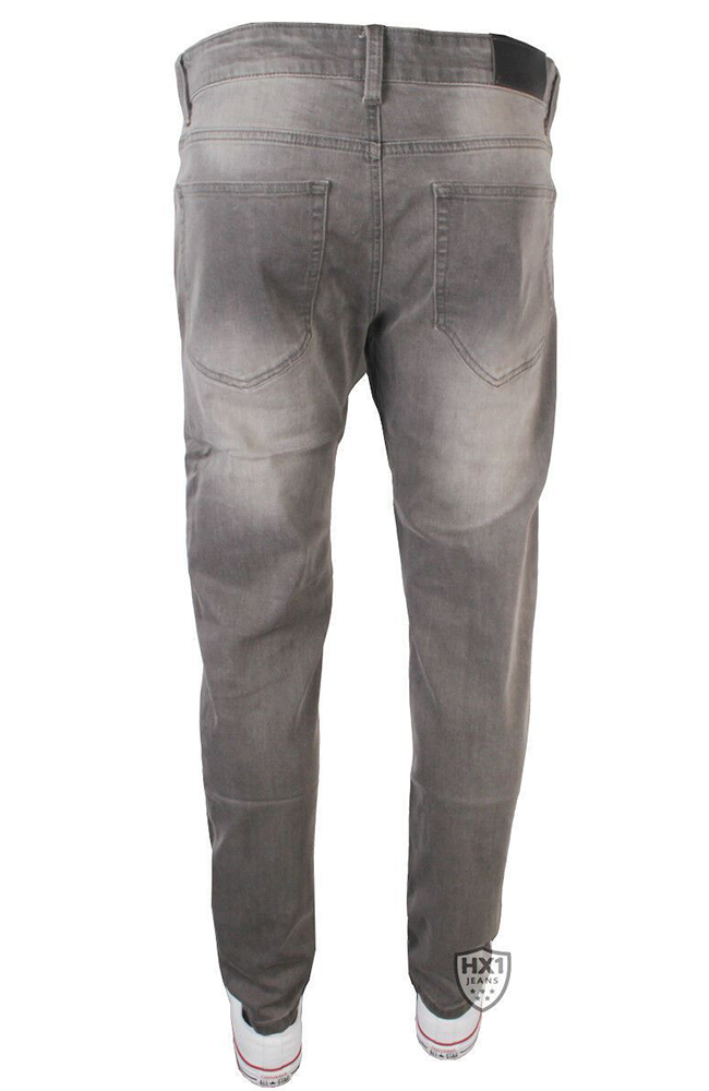 Mens New Enzo EZ325 Skinny Stretch Grey Jeans
