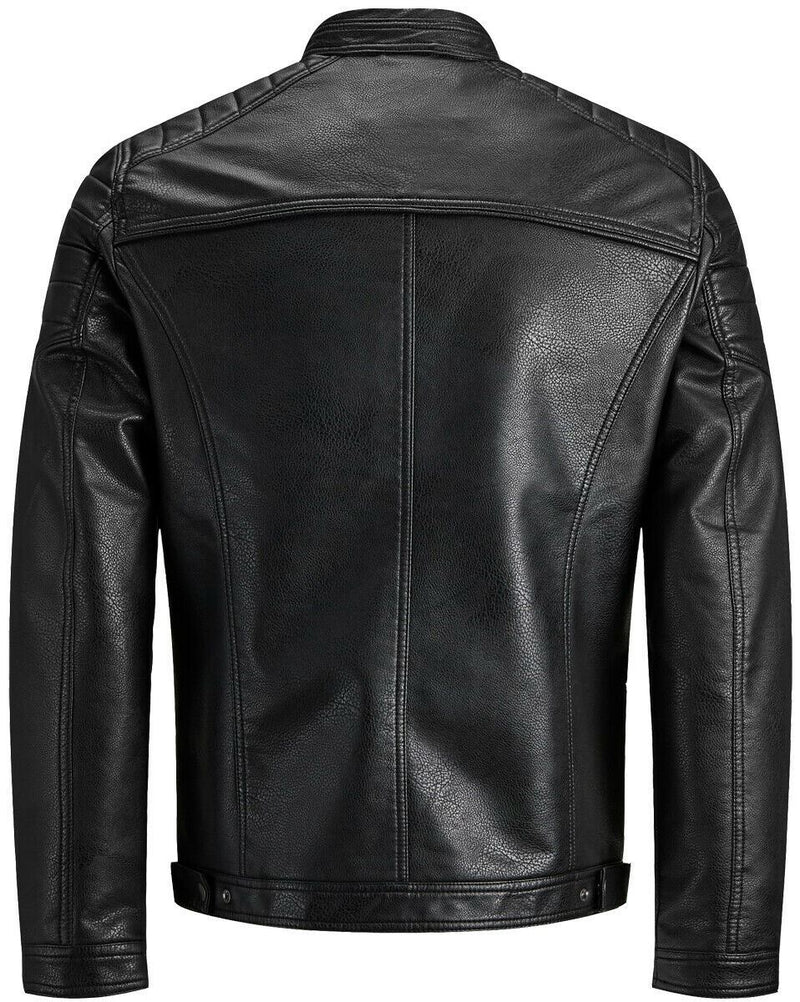 Jack Jones Mens Rocky Faux Leather Jacket Black