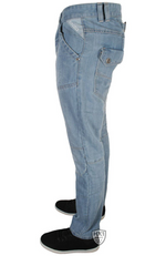 Mens New Straight Leg Cargo Back Pocket Jeans Light Blue Wash