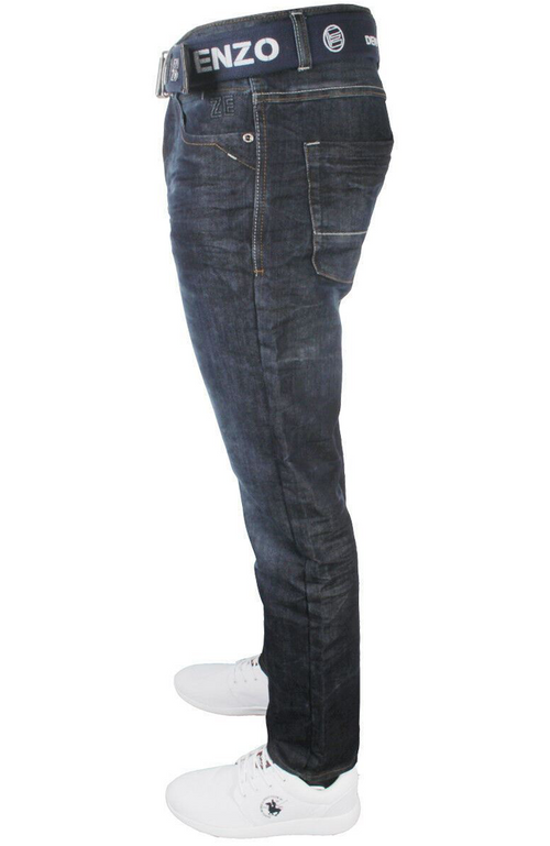 Mens Latest Enzo 384 DSW Straight Leg Jeans Free Belt