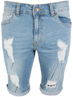 Mens Latest Enzo EZS383 Light Wash Denim Shorts