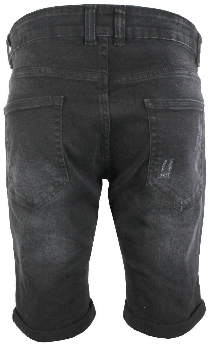 Mens Latest Enzo EZS383 Black Denim Shorts