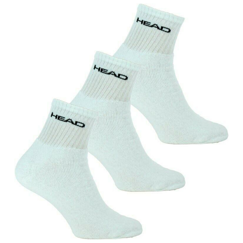 Head Brand Mens Sports Short Crew Cotton White Socks Triple Pack