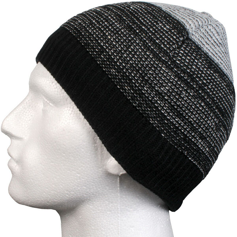 Mens Accessories Black Beanie Warm Hat Fleece Lined