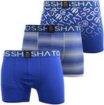 Mens Crosshatch Boxers Shorts Multipacked 3PK Underwear Gift Box Formbee Blue