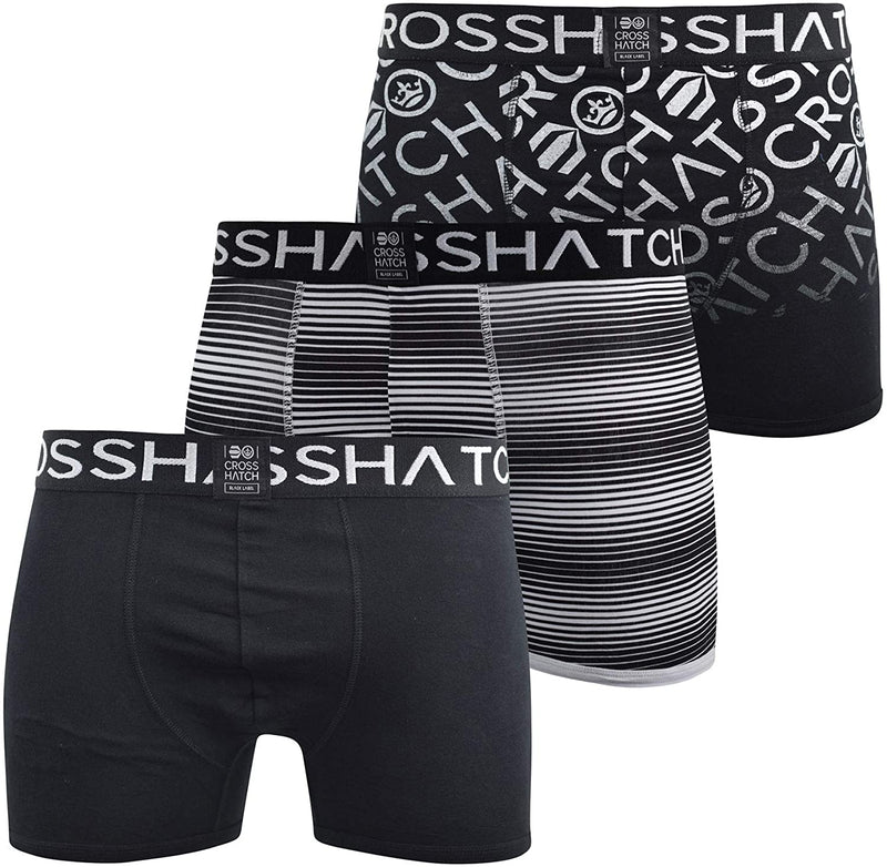Mens Crosshatch Boxers Shorts Multipacked 3PK Underwear Gift Box Formbee Black