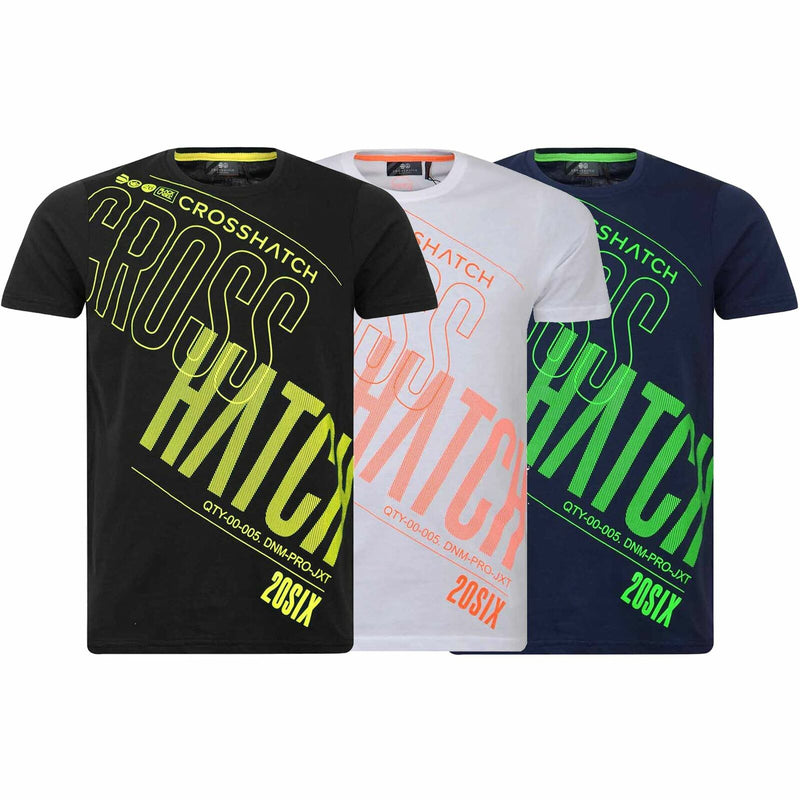 Mens Crosshatch T Shirt Kaeffmore Neon Graphic Tee