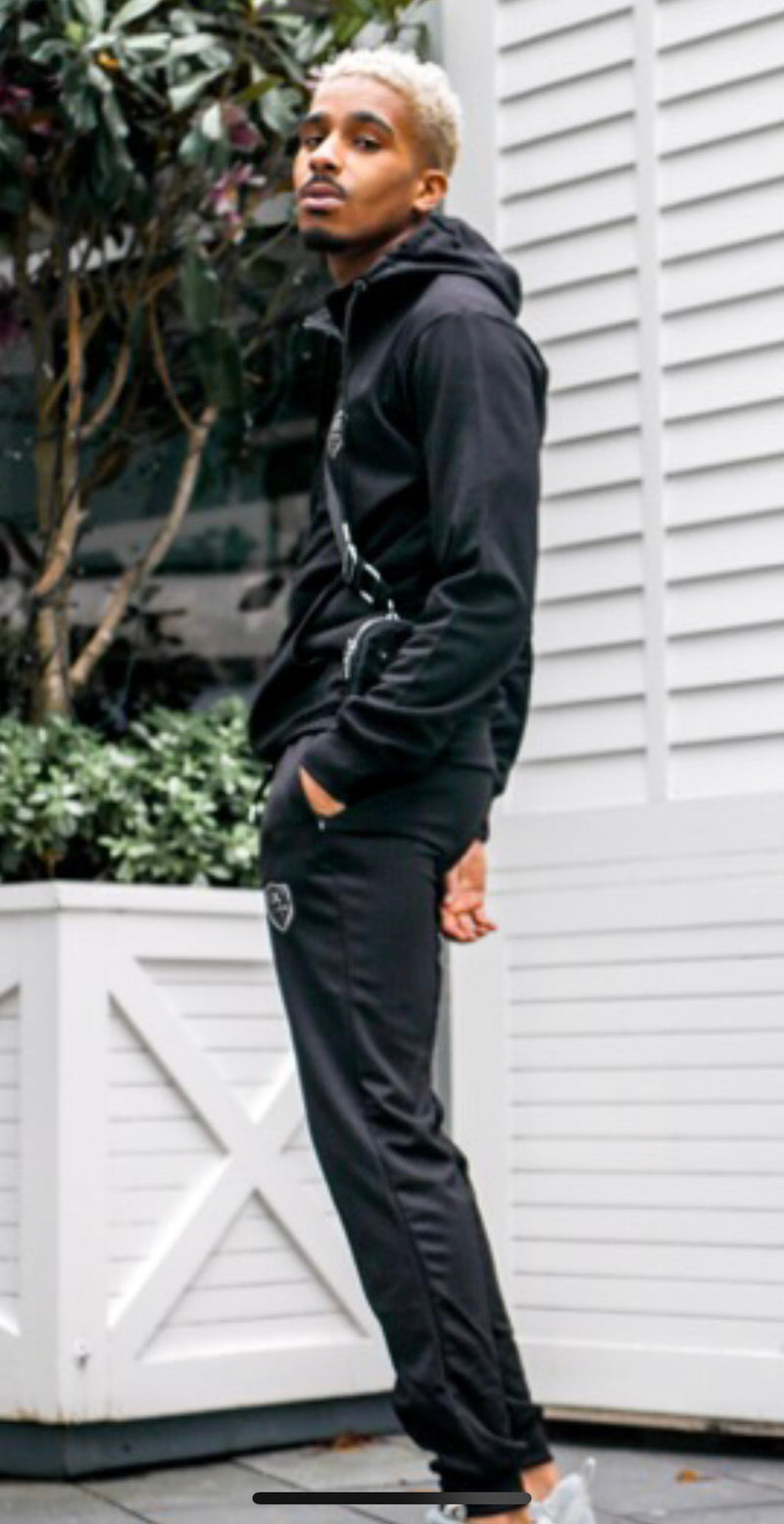 New Mens Designer Style Slim Black Tracksuit Fit hx1jeans Reflective Logos