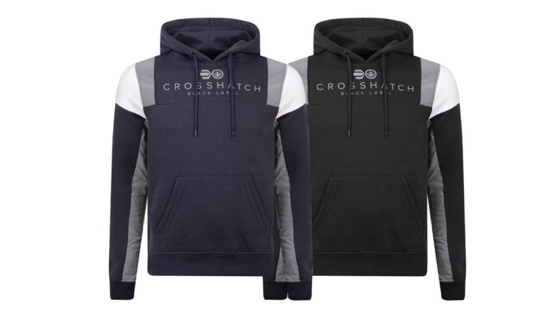 Mens Crosshatch Pillsworth Reflective Pullover Hoodie Top Black Or Navy