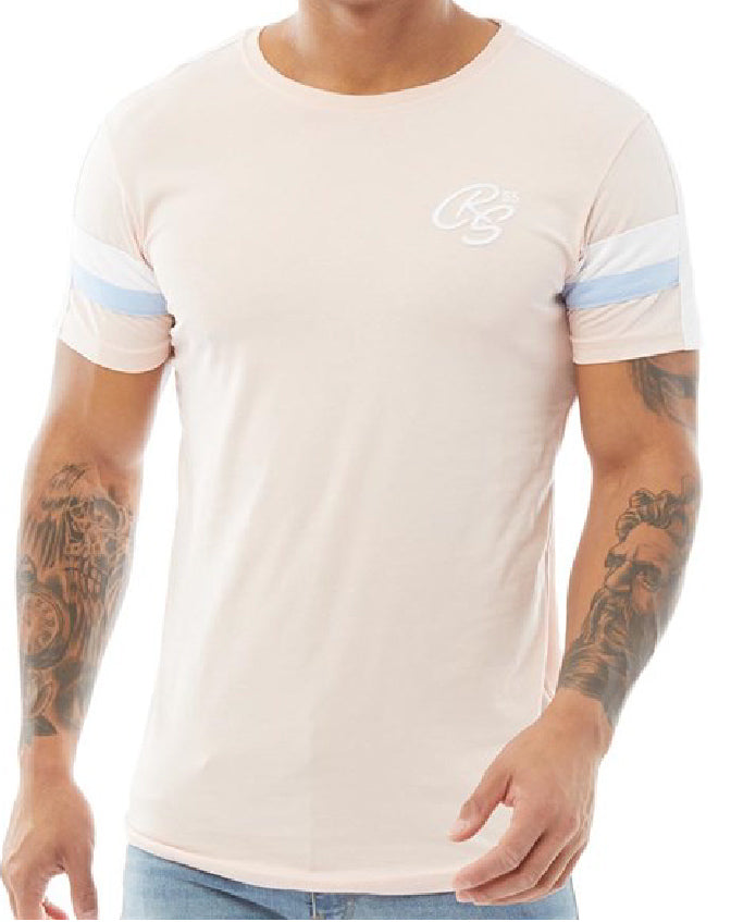 Crosshatch Mens Wishlist Crew Neck T Shirt Pink