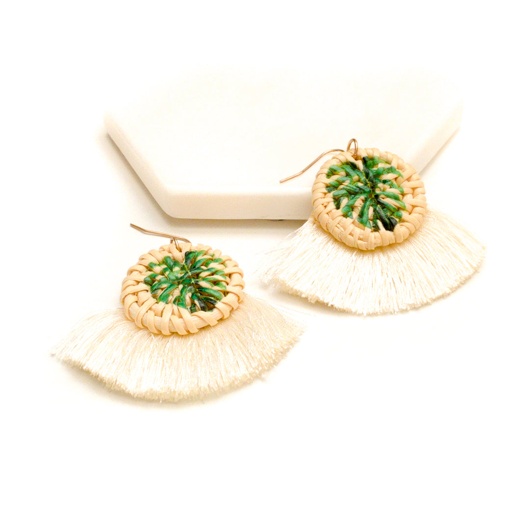 Leaf Print Drop Earrings