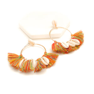 Seashell Tassel Drop Earrings-women