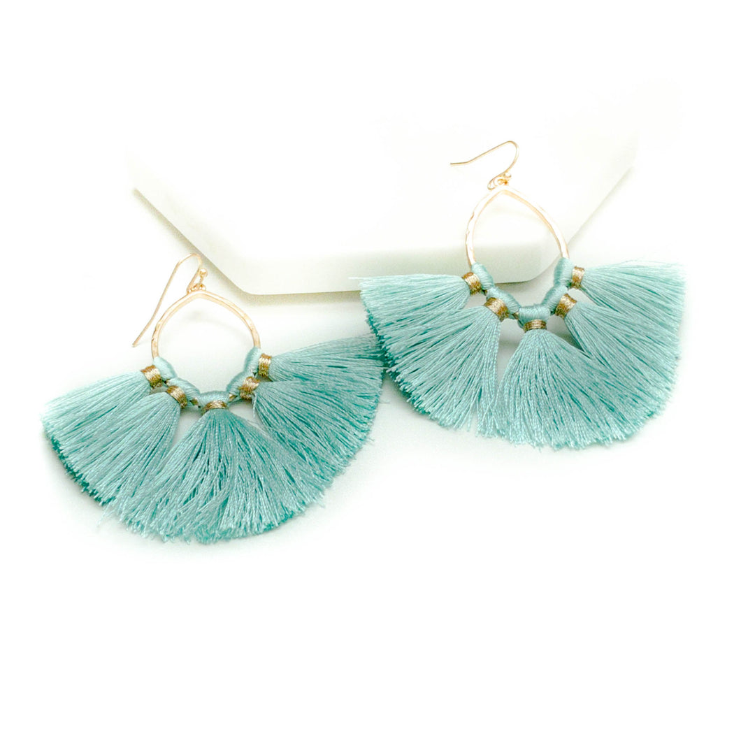 Tassel Earrings- Mint-women