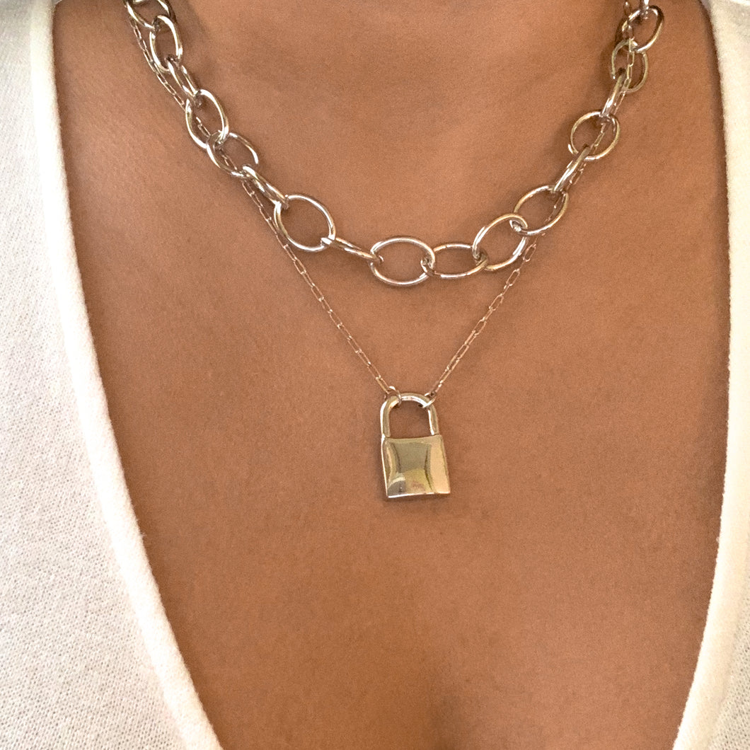 Silver Padlock Double Chain Necklace