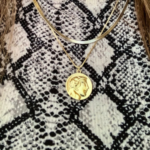 18K Gold Coin Pendant Necklace