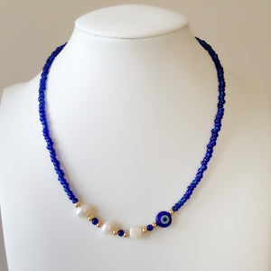 Blue Necklace with Freshwater Pearls