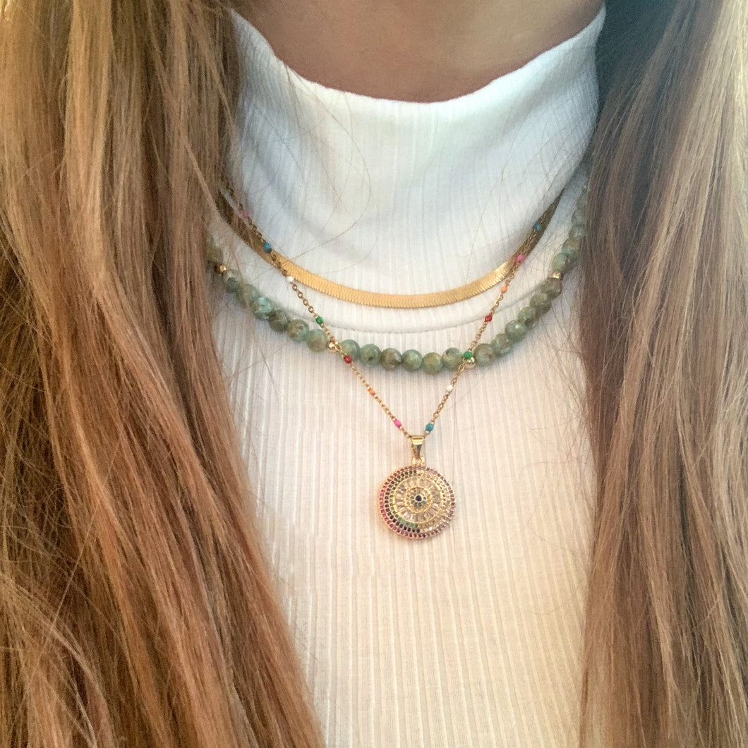 Green Agate Gemstone Necklace