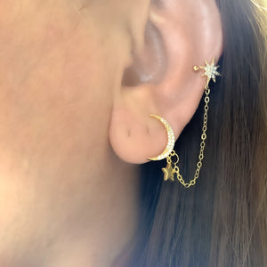 Moon Cuff earring with Chain
