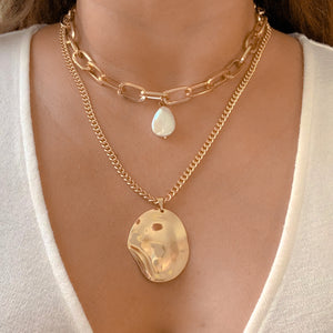 Pearl & Double Chain Necklace