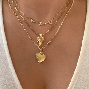 Triple Layer Angel Love Heart Necklace